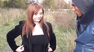 Slutty red-haired Russian chic gives double blowjob outdoors