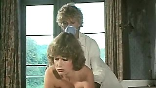 Big breasted blond nurse blows hard cock of her fat boss