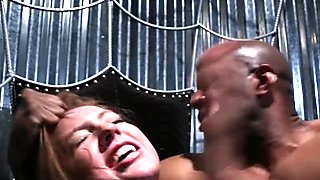 Restrained interracial cunt roughly punished
