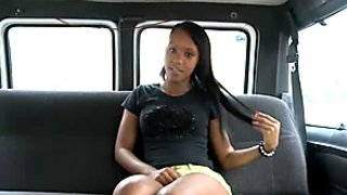Cute ebony bitch from the street does her best in the car