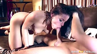 Slutty brunette's gaping asshole filled with his cock juice