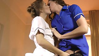Mature brit lesbian and teen as sexy nurses