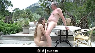 Oldman punish a nasty girl with hard fuck