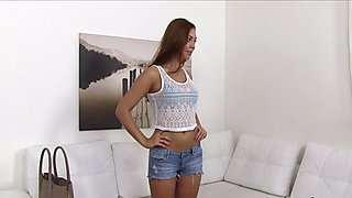 Tanned gal fucks casting agent