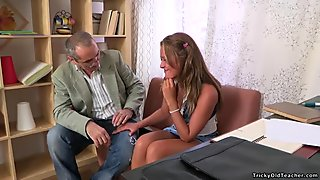 Mature teacher is taking advantage of innocent gal