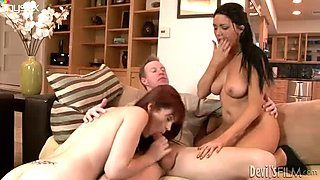 Two horny MILFs are fucking in a hot FFM threesome