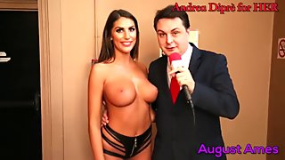August Ames gives a blow job lesson for Andrea Dipr