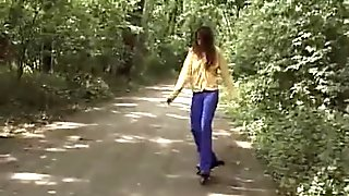 Some guy caught horny roller girl while
