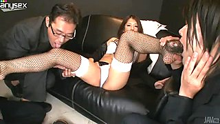 Seductive and hot gal Satomi Suzuki gets undressed and pleased by some men