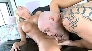 Brutal bald dude eats Mckenzie Miles' pussy and she rides his cock fast and furious