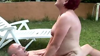 Fat old woman rides her lover's dick like a seasoned pro
