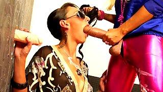 Bukakke gloryhole lesbian riding strapon cock