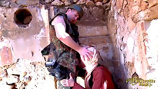 Arab woman gives a hot blowjob to a French soldier