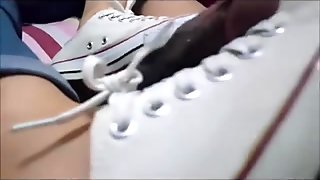 Sweet teen shoe and footjob