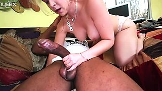 Busty Caucasian slut Sarah Vandella deepthroats BBC in hardcore interracial fuck video