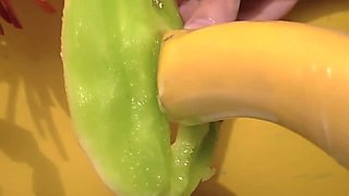 huge banana-cock fucks her wet'n'juicy melon-cunt (destruction sex, no love makin' at all)