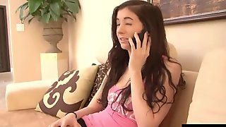The brunette teen Courtney Star, gives her mother a call to see when