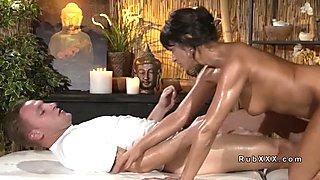 Tanned Euro Milf fucks after massage