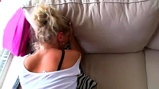 Curvy blonde bitch Adele gets poked hard in a doggy position. POV video.