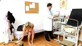 Bosomy mom Stepanka gets her big tits mauled by kinky doctor