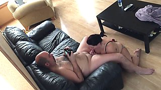 Cock Hungry Wife Sucking Off Her Husband Gets Cum on Face Humiliation