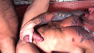 Heavy and hairy bear fucked and sucks