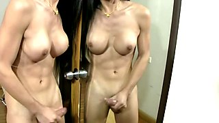 Ladyboy blowjobs fat cock and masturbates like a sex machine