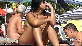 Nude Latina Teen Tanning Naked at beach