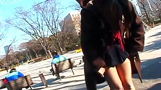 Naive Japanese whore Misa Kashiwagi shows off her naked body in public