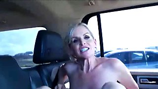 My Wife Blowjob and Fuck on Public Parking in Car