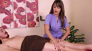Teen masseuse wanking cock in cbt action
