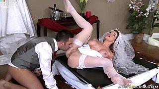 Horny blonde bride Kayla Paige bends over for her husband