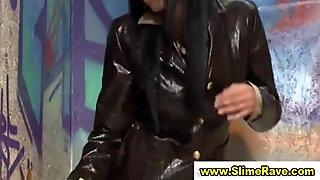 Glamorous clothed slut gives blow job in gloryhole