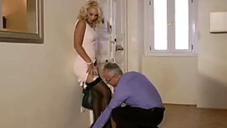 Horny old man wins a chance to drill the wet pussy of curvy nympho Lana
