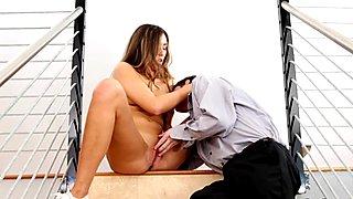 Anastasia Black puts on a stairway show