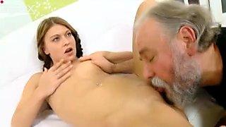 Cute brunette with braids sucks old man's still strong dick for semen