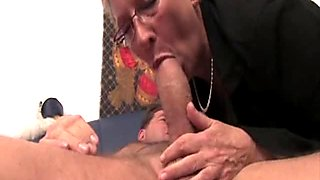 Young guy fucks granny with big knockers